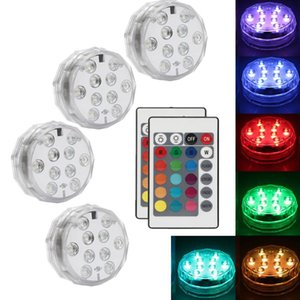 Underwater Lights 10 Led Remote Controlled RGB Submersible Light Battery Operated Night Lamp Outdoor Vase Bowl Garden Party Decoration