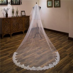 Bridal Veils JaneVini 3 Meters Long Cathedral Lace Edge Wedding Veil With Comb Two Layers Sequin Bride Face Accessories