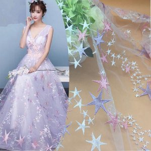 Lace Mesh Cloth Stars Macarons Embroidered Cloth Women's Dress Polyester FabricUZE7
