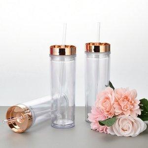 Skinny Cup Double Mur Plastique Tobilier Portable Facile à prendre avec couvercle de galvanoplastie et paille de 16oz Sea Shipping Owe5391