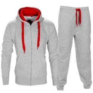 Tracksuit 남자 가을 sportwear 패션 망 세트 2PC 지퍼 후드 티드 스웨터 재킷 + 바지 masculino 세트 2021