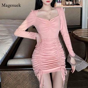Sexy Slim All-match Waist Long Sleeve Pleated Dress Fashion Expose Clavicle Korean Drawstring Sheath Hip Vestidos 12146 Casual Dresses