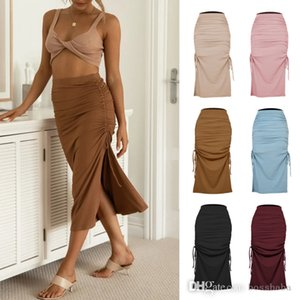 Womens Split Knitted Slim Skirt Fashion Pleated Lace Up Sexy Hip Long Skirts Autumn And Spring Clothes 6 Colors