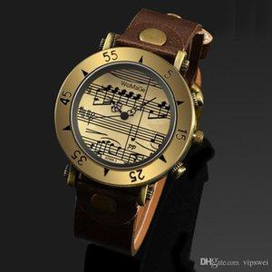 12-часовые дисплеи кварцевые часы ретро PU ремешок металлический бронзовый чехол музыкальные маркеры Унисекс часов древний римский стиль