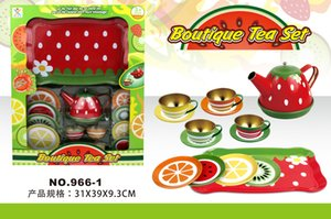 Tinplate Stainless Steel Tea Set Cup Teapot Kitchen Pretend Play House Toy Window Box Gift Refreshments Container