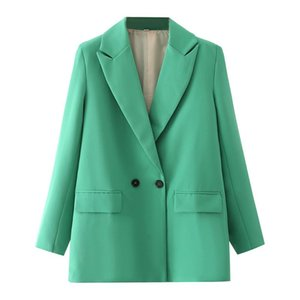 Women's Suits & Blazers Women Chic Office Lady Double Breasted Blazer Vintage Coat Fashion Notched Collar Long Sleeve Ladies Outerwear Styli