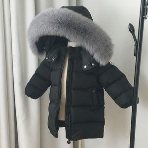 Одежда детских мальчиков и девочек Длинно вниз толстая лыжная куртка