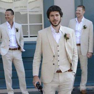 Bej Plaj Keten Erkek Takım Elbise Düğün için 3 Parça Ceket Yelek Ile Pantolon Damat Smokin Moda Kostüm Yüksek Kalite 2021 erkek Blazers