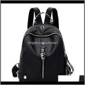 Black White Ribbon Backpacks School Women Fashion Backpack Korean Version Academic Style Zipper Knapsack Bag Soft Surface 10 7Sy B2 F3 Veruf