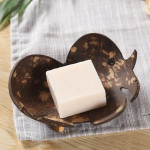 Creative soap dishes retro coconut soap holder natural wooden soap tray holder storage rack plate box container for bathroom FWE9637