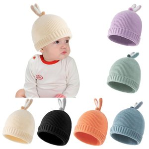 Caps & Hats Cute Cartoon Bear Ear Baby Hat Winter Soft Warm Knitted Boy Girl Beanie Solid Color Infant Toddler Cap Bonnet Kids