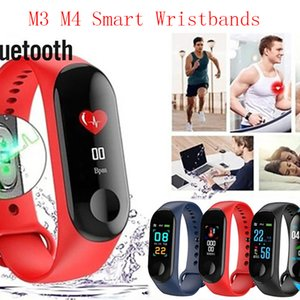 M3 M4 Smart Wristbands BT 4.0 Fitness Tracker Support Notify Blood Pressure Measurement Waterproof for Android & IOS Mobiles with Retail Box