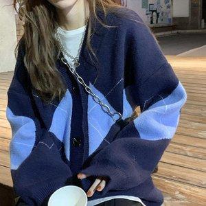 Women's Knits & Tees Argyle Cardigan Women Knitted Sweater Tops Female Loose Geometric Long Sleeve Knitwear Korean V-neck Oversize Winter