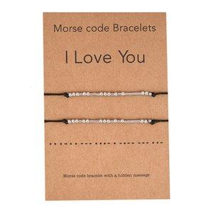 """2021 New Fashion Stainless Steel Beads Morse Code Bracelet For Women Men Handmade Braided """"I Love You"""" Bracelet Promise Gift"""