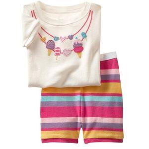 Girls Pajamas Sets 2-7years Girls' Clothes Suit Summer Short Sleeve T-Shirts Tops Pant Set 100% Cotton Sleepwear 210915
