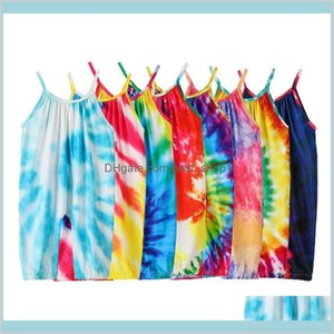 Summer 2020 Ins Tie Dyed Rompers Baby Sling Romper Boys And Girls Suspender Jumpsuits Clothing Boutique Kids Climbing Clothes M2619 Ba Xcagb