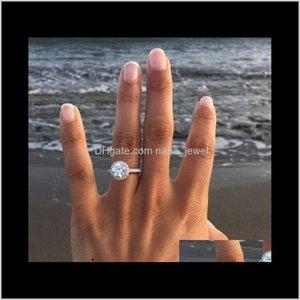 New Womens Wedding Rings Fashion Round Gemstone Silver Engagement Rings Jewelry Simulated Diamond Ring For Wedding Qo32Z Sijvu