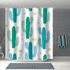 ins 3D 프린트 선인장 욕실 샤워 커튼 방수 후크 목욕 만화 아이 선물 재미 있은 귀여운 럭셔리 패션 커튼