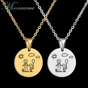 Family Jewelry Stainless Steel Dad Son Necklace Color Roung Pendant For Women Gift Chains