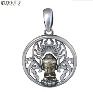 100% 925 Silver Pendentif Tibétain 925 Sterling Bouddhiste Buddha Statue Pendentif Tibétatan Bonne chance Pendentif 210319