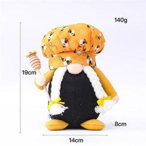 Bee Chef Gnome Man Woman Scandinavian Honey Bee Dwarf Doll Faceless Bee Home Farmhouse Kitchen Decor GWE8074