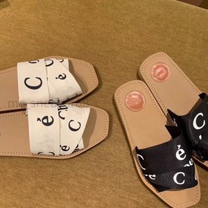 2021 Ladies Woody Muller Shoes Flat Slippers Fashion Designer High Quality Letter Belt Flat Sandals size 35-40