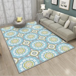 Carpets For Living Room Nordic Green Round Floral Pattern Thick Carpet Decoration Home Baby Area Rug Bedroom