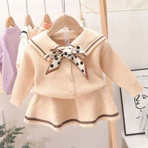 Girls Sweater Sets Kids Clothing Baby Clothes Outfits Autumn Winter Cotton Knitting Patterns Bows Cardigan Coat Skirts Cute Suits 2Pcs B8344