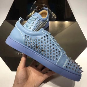 Designer Brand-new Low top Junior Spikes Red Bottom Sneakers Shoes Graffiti Patent Leather Round-toe Casual High Quality Outdoor Studs Wedding Party