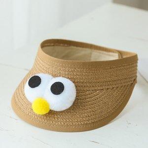 Caps Hats 2021 Летние Детские Детские Детские Солнца Шляпа Симпатичные Пустые Соломенные Мальчики и Девочки Пляж Регулируемая Дышащаяся шапка