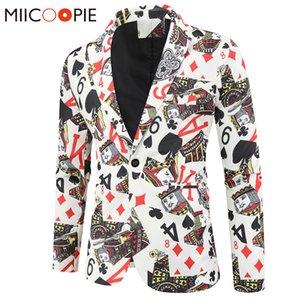 Игральные карты Poker Print Смешная мужская Blazer Куртка 2020 Корейский модный вечеринка Ром-костюм Мужской винтажный костюм Blazer Hombre
