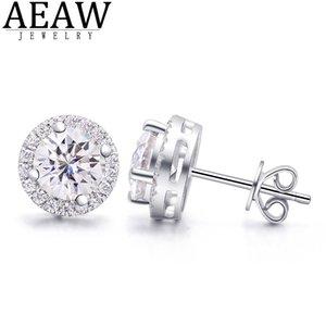 AEAW 2CTW DEF DEF Test de diamante blanco Pasado Moissanite Pendiente de plata Joyería Gemita de piedras preciosas de la novia Precio especial para las mujeres 210325