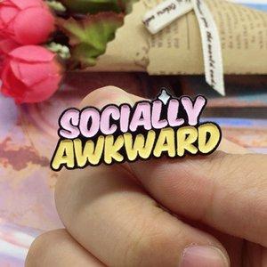 Cute Small Funny SOCIALLY AWKWARD Enamel Brooches Pins for Women Christmas Gift Demin Shirt Decor Brooch Pin Metal Kawaii Badge