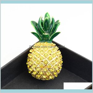 Fantastic Gold Plated Alloy Stunning Green Crystals Pineapple Brooch Selling Special Gift Fruit Broach Pin For Women Hijab Wear M77Xd Ud4Ok
