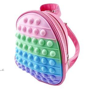 3D Rainbow Fidget Toys Backpack Push Bubble Tie Dye Bag Kids Adult Sports Casual Shoulder Bags Handbag Tote Christmas Gift RRD11264