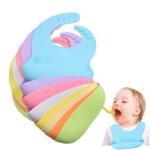Baby Feeding Food Grade Silicone Bibs Baby Plate Non-silp Suction Bowl Kid Tableware Waterproof Bib Spoon with Wooden Handle HHC6714