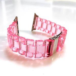 Pour la montre Apple Strap Acrylique Bandes de rechange en boucle de cristal transparent transparent IWatch 38 / 40mm 42 / 44mm Bracelet Accessoires