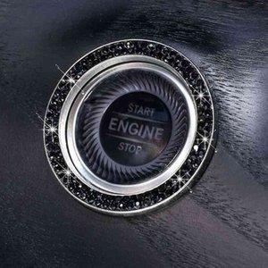 Автомобиль начало зажигания кнопка декор кольцо крышка блестящие 2 ряда стразы с одним ключом начало остановить автомобиль ключ зажигание Starterknob кольцо