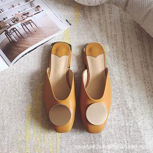 versatile slippers women's Baotou wear fashion 2020 summer new net red flat bottom sandals lazy Muller half Trail