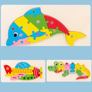 Infant Children's Wooden 3d Three-dimensional Puzzle Toy Traffic Animal Baby Early Teaching and Intellectual Development Boys Girls 7XFR730
