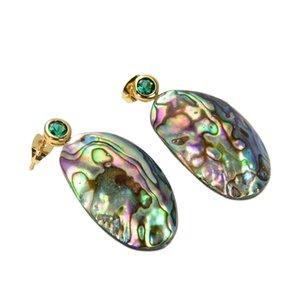 GuaiGuai Jewelry Natural Abalone Shell freeform Green Cubic Zirconia pave Stud Earrings Handmade For Women Real Gems Stone Lady Fashion Jewellry