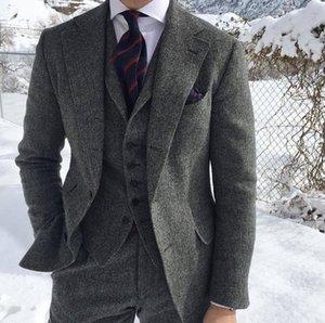 2021 Klasik Rahat Gri Erkekler Resmi Iş Damat Düğün Için Suits 3 Parça Tüvit Adam Pantolonlu Ceket Yelek Seti