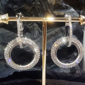New design creative jewelry high-grade elegant crystal earrings round Gold and silver color earrings wedding party earrings for women 38 T2