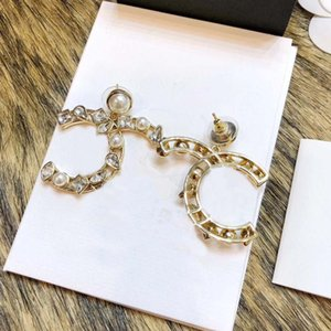 drop earring with sparkly diamond and pearl for women wedding jewelry gift have box stamp PS4113