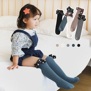Socks Autumn Spring Children Ribbed Knit Tube With Dot Bow-knot Baby Girls Casual Sweet Anti-slip Soft Warm Calf