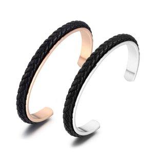 Bangle 2021 Мода Титановый стальной кожаный браслет Ювелирные изделия для мужчин Женщины Ретро плетеные влюбленные запястья