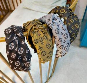 Lotes designer de moda marca carta imprimir larga borda knotted headbands Turbante de luxo Headband cabelo hoop headwear acessórios para mulheres meninas