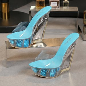 Hoksvzy Super High Heel cool Slipper Transparente Spezial-förmige Kristall Slipper Wasserdichte Plattform 15 cm Keile Frauen Sandal Tuy5675