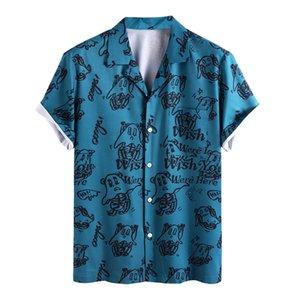 Camicie da uomo Cartoon Ghost Ghost Ghost stampato manica corta Pulsante traspirante Up Hawaiian Blue Shirt 210527
