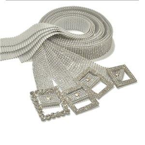 fashion Sparkly Rhinton Wedding Belts Bridal female pin buckle Bling women belt with rhintone